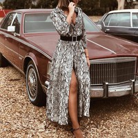 Women V Neck Snake Skin Print Maxi Dresses Ladies Split Holiday Beach Party Casual Dress Ladies sexy clothes vetement femme