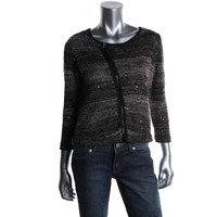 INC Womens Knit Sequined Full Zip Sweater