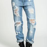 Light Wash Shredded Boyfriend Jeans