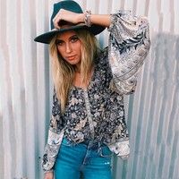 Opulent Oasis Blouse Keyhole Back Long Sleeve Women Shirt Top Blouses Shirts Boho Floral Print Blouse