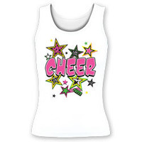 Printed Pink Cheer with Bright Multi Color Stars Fitted Cheerleading Tank Top
