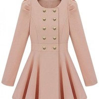 Round Neck Double Button Pink Coat$70.00