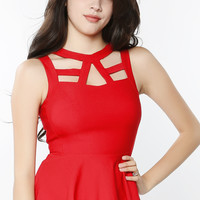 Front-Cutout Peplum Top