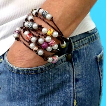 Leather, Pearl and Multi-color Tye Dye Bead Bracelet / Necklace - 1 Long Strand - Pearl and Leather Jewelry Collection, gift
