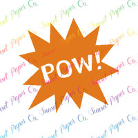 POW Comic Bubble Vinyl Decal. Available in Any Color or Size, Custom Shapes Available by Request