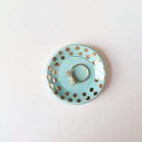 Ring Holder with Gold - Jewelry Dish - Ring Dish - Bridesmaid Gift - Mint and Gold Ceramics
