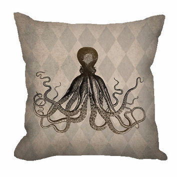 Vintage Style Octopus Throw Pillow on rustic tan and taupe harlequin pattern