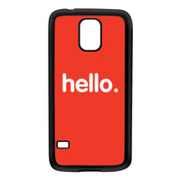 Hello Black Silicon Rubber Case for Galaxy S5 by textGuy