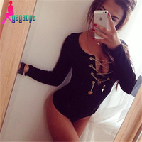 Sexy Metal Rope Design Bodysuit with Long Sleeves