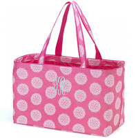 Large Utility Tote Bag Carry Pink Medallion Maddie Monogrammed