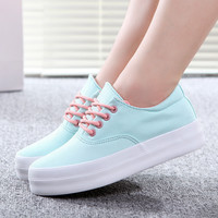 Trifle Canvas shoes woman  women sneakers sport shoes  wedge sneakers floral printed Simple and stylish Platform shoes