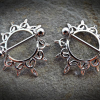 Set of Swirling Sunburst Tribal Shield Nipple Ring with 316L Surgical Steel Barbell 14ga