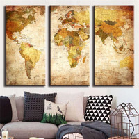 3Pcs Unframed Modern Wall Painting Home Decor Retro landmass World Map Landscape Canvas Picture HD Print Painting High Quality