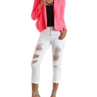 Neon Coral Long Sleeve Open Front Blazer