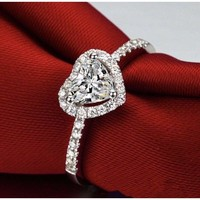 Diamond Heart-shaped ring s925  Size 6