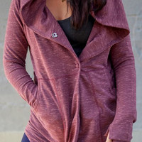 Dark Red Long Sleeve Hooded Double Pocket Sweater