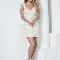 Buy discount Lovely Tulle & All-over Lace Queen Anne Neckline Sheath Homecoming Dresses With Beadings & Rhinestones at Dressilyme.com