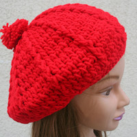 Red Slouchy Beanie hat Skull Cap Boho Chic Hand Crocheted womens teens spring summer fashion accessories