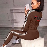 FENDI Classic Fashion Women Casual High Collar Long Sleeve Top Pants Trousers Set Two-Piece Sportswear
