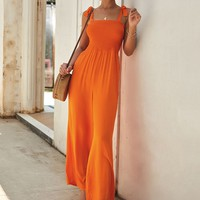 Neon Orange Shirred Knot Wide Leg Jumpsuit