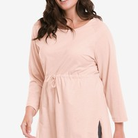 Drawstring Waist 3/4 Sleeve Tunic