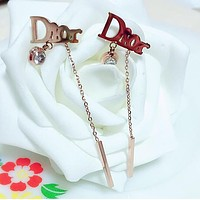 DIOR Popular Cute Personality Rose  Golden Letter Diamond Tassel Pendant Titanium Steel Earrings Jewelry Accessories I13288-1