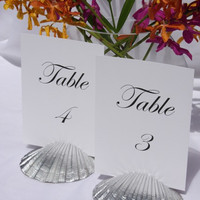 Silver Scallop Shell Table Number Holder