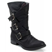 Soda Norris Leatherette Mid Calf Strappy Round Toe Motorcycle Boot BLACK
