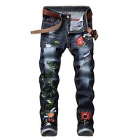 new hip hop Famous Flower Embroidered Jeans Straight Slim Fit Mens Printed Biker Denim Trousers jeans pants