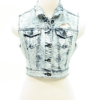Distressed acid wash denim crop jean vest