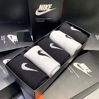 NIKE Fashion Women Men Casual Breathable Sport Socks+Gift Box