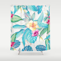 Blue tropical flowers Shower Curtain by printapix