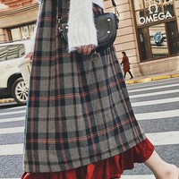 Nacarat Plaid Ruffle Below Knee Elastic Waist Skirt