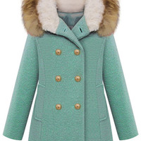 ROMWE Double-breasted Faux Fur Hooded Long Sleeves Blue Coat