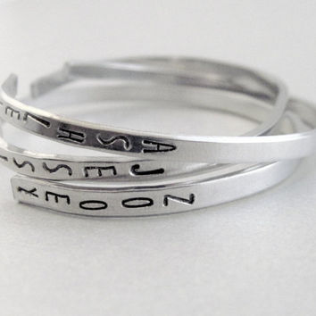 Personalized Skinny Stacking Bracelet - Your Name on a Custom Aluminum Cuff