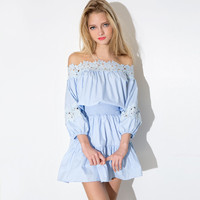 Strapless Lace Half Sleeve Ruffled A-Line Mini Dress