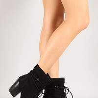 Qupid Maze-35 Round Toe Lace Up Ankle Bootie