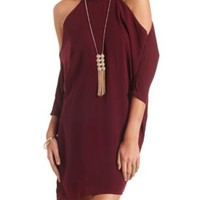 Cold Shoulder Mock Neck Dolman Shift Dress - Dark Red