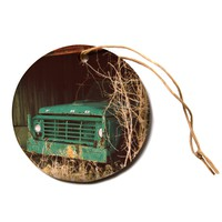 "Angie Turner ""Ford"" Teal Car Circle Holiday Ornament"