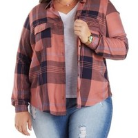 Plus Size Navy Combo Button-Up Plaid Tunic Top by Charlotte Russe