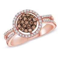 1/2 CT. T.W. Champagne and White Diamond Frame Ring in 10K Rose Gold - View All Rings - Zales