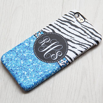 Zebra Blue Glitter Monogram iPhone 6 Case iPhone 6 plus Case Custom iPhone 5S Case iPhone 5C Case iPhone 4 Case Galaxy S6Edge S5 S4 Case 066