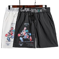 Off White Summer New Fashion Letter Arrow Mouse Print Shorts