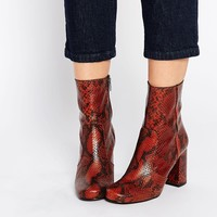 KG By Kurt Geiger Snape Snake Print Leather Mid Calf Boots
