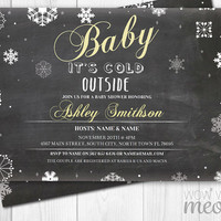 Baby It's Cold Outside Yellow Shower Invitation Invite Chalk Winter INSTANT DOWNLOAD Christmas Gender Reveal Personalize Editable Printable