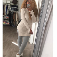 Crew Neck Side Slit  Knitted Sweater