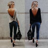 Women's Fashion V Open Back Backless Blouse Sexy Tops Long Sleeve Loose Casual Shirt
