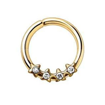 Gold Jeweled Stars Annealed Seamless Ring