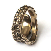 Octopus Tentacle Ring in Solid Bronze