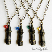 Hogwarts Castle Inspired Necklace, Gryffindor, Ravenclaw, Slytherin, Hufflepuff, Harry Potter Jewelry